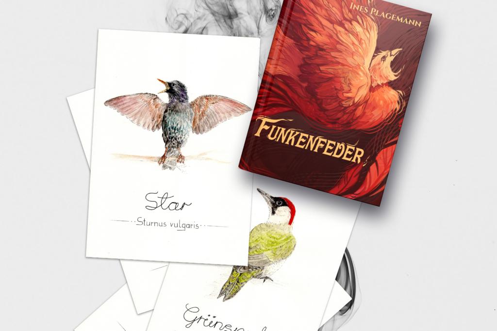 Funkenfeder-Hardcover und Aquarellbilder von einem Star und einem Grünspecht