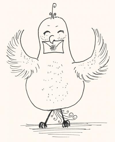 Illustration Vogel mit Brief